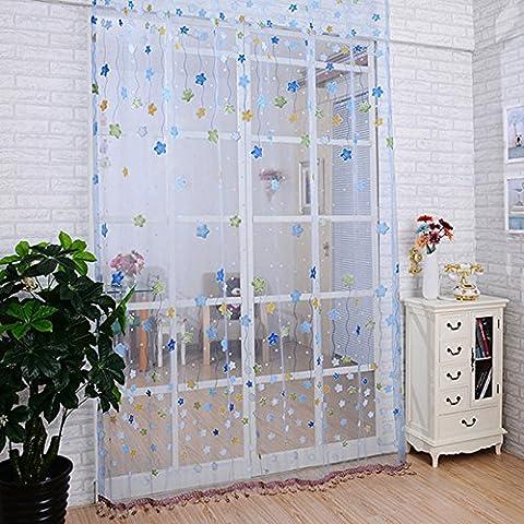 QHGstore Porta della stanza divisori sciarpa pura stella voile tenda della finestra Pannello drappeggiato Blu