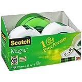 Scotch Magic plakband Promotion AAMT-3 – 3 rollen beschrijfbaar, matte kleeffilm 19 mm x 25 m incl. gratis handafroller, groe