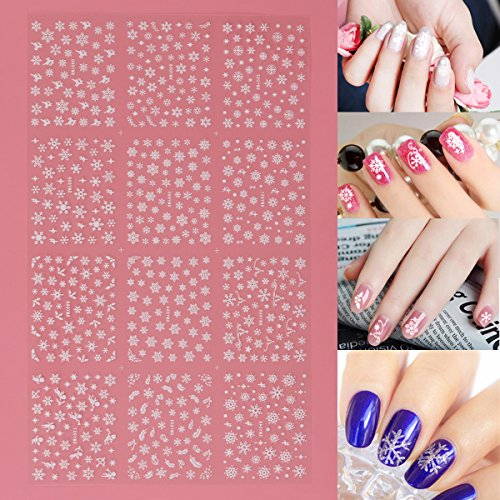 Frcolor 12 Blätter 3D Nail Sticker, Weihnachten Schneeflocke Nail art Aufkleber Nail art Scheiben Glitters DIY Dekorationen -