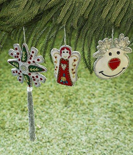 Store Indya, Albero sospeso decorazione, Set di 3 Decorazioni di con Angelo, Rudolf, e Missltole motivi per la decorazione domestica, Albero attaccatura di parete e decorazione del regalo di Natale