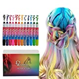 Qivange Hair Chalk Pens, Girl Toys Washable Temporary Hair Colouring for Kids, Perfect Birthday Halloween, Christmas,New Year Gift for Boys & Girls, Set of 12