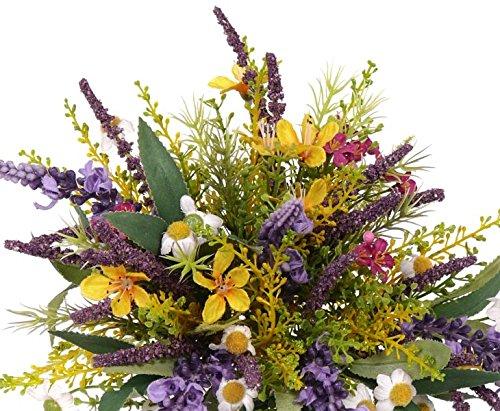 kunstpflanzen-discount.com Kunstblumenstrauß aus Lavendel und Wiesenblumen gemischt, Gesamthöhe inkl. Stiel ca. 20cm – Blumenstrauss Kunstblume Wiese Blumendeko