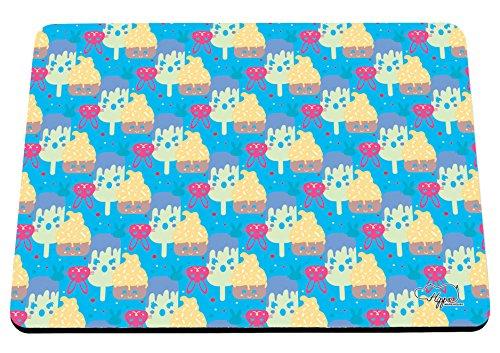 Kawaii Cupcake Kaninchen Muster bedruckt Mauspad Zubehör Schwarz Gummi Boden 240mm x 190mm x 60mm, blau, Einheitsgröße (Pop-art-make-up-kostüm)