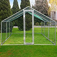Superworth 6Mx3M Large Metal Chicken Coop Run Walk In Cage For Poultry Rabbit Duck Goose Hen Dog House 2.2 Height Steel Galvanized Frames PVC Coated Hexagonal Wire Mesh With 1 Piece Free Shade Cover