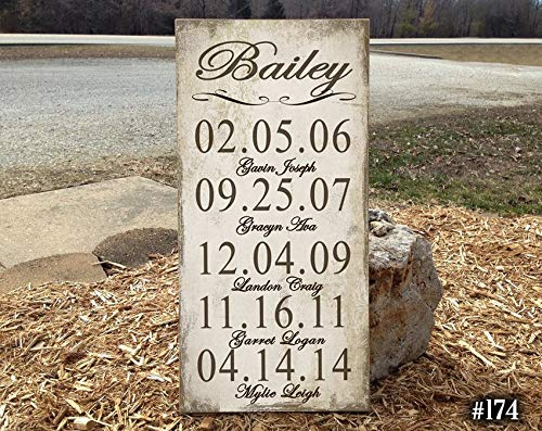 Claude16Poe Custom Family Name Holzschild Monogramm Hochzeit gegründet Personalisiertes Holzschild Familie gegründet Geschenke für Paare Hochzeit Holzschild rustikaler Name -