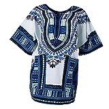 Sharplace Damen Kurzarm Sommer Traditionelle Afrikanische Kleider Afrika Style Minikleid Dashiki Cocktailkleid - Blau, wie beschrieben