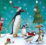 Postkarte 140x140mm ~ Mila Marquis ~ Pinguine am Nordpol feiern Weihnachten