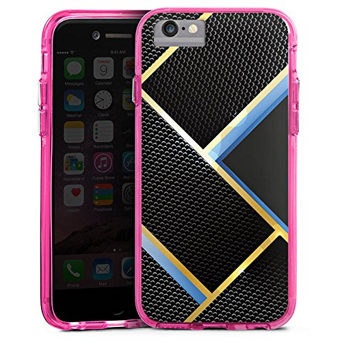 Apple iPhone 6 Bumper Hülle Bumper Case Glitzer Hülle Muster Pattern Schwarz Blau Gold Carbon Bumper Case transparent pink