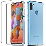 QHOHQ Cover per Samsung Galaxy A11/Galaxy M11 con 2 Pezzi Pellicola Protettiva, Silicone Morbido TPU Anti-Buttare Custodia -