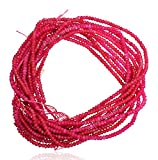 #8: 2 Strands of Pink Color Quartz Faceted Rondelle Loose Gemstone Beads, 2x4 mm 15 inch length, dark pink color, for jewelry making, wholesale price, exclusively by Ratnagarbha.