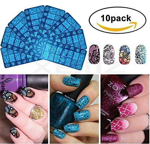 10 unidades de plantillas de estampado de uñas en 3D, plantillas de encaje, diseño de flores, acero inoxidable, kit de manicura, molde de impresión, regalo único para mujeres