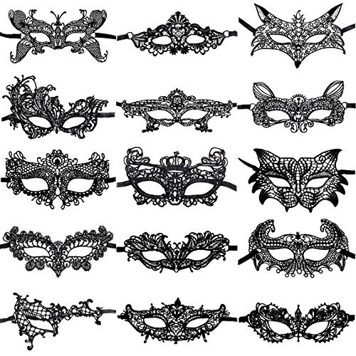 CNYMANY 15 Packs Women's Sexy Flexible Lace Masks Eye-mask for Ball Party Venetian Masquerade Costume - Black (Masquerade Masken Lace Black)
