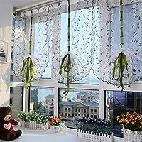 yiyida 2Pannelli floreale ricamato tende tenda velata sollevamento Tulle Porta Balcone Finestra Home Decoration, 0.8mx2.7m