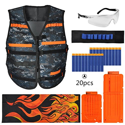Gilet tattico per bambini per nerf gun n-strike elite series-gilet tattico elite 1pc,2pc quick reload clips,1pc wristband,1pc occhiali per occhiali,1pc seamless face mask,20pcs refill darts bullets