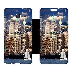 Skintice Designer Flip Cover with Vinyl wrap-around for Samsung Galaxy On5 , Design - City
