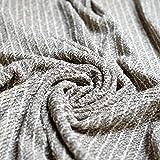 Grau & Creme Streifen Baumwolle Knit Heavy Strukturierte Boucle Jersey Stoff–mit Silber Lurex Sparkle Gewinde–Meterware