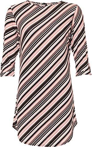 WEARALL Damen Übergröße Gestreift Kurz Hülle Gebogen Saum Lang Länge T-Shirt Damen Top - Rosa - 46 (Top Diagonale Saum)