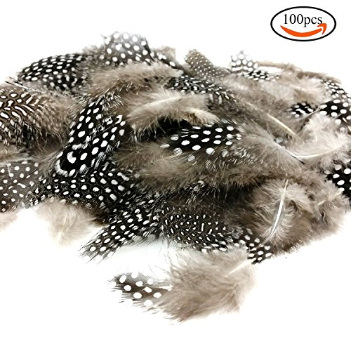JPSOR 100 Stück 2''-6'' Natürliche gefleckte indianer Feder zum basteln für DIY Kunstwerk, kostüm kinder Schmucken und Bekleidung Dekoration (Kinder Kostüme Diy)