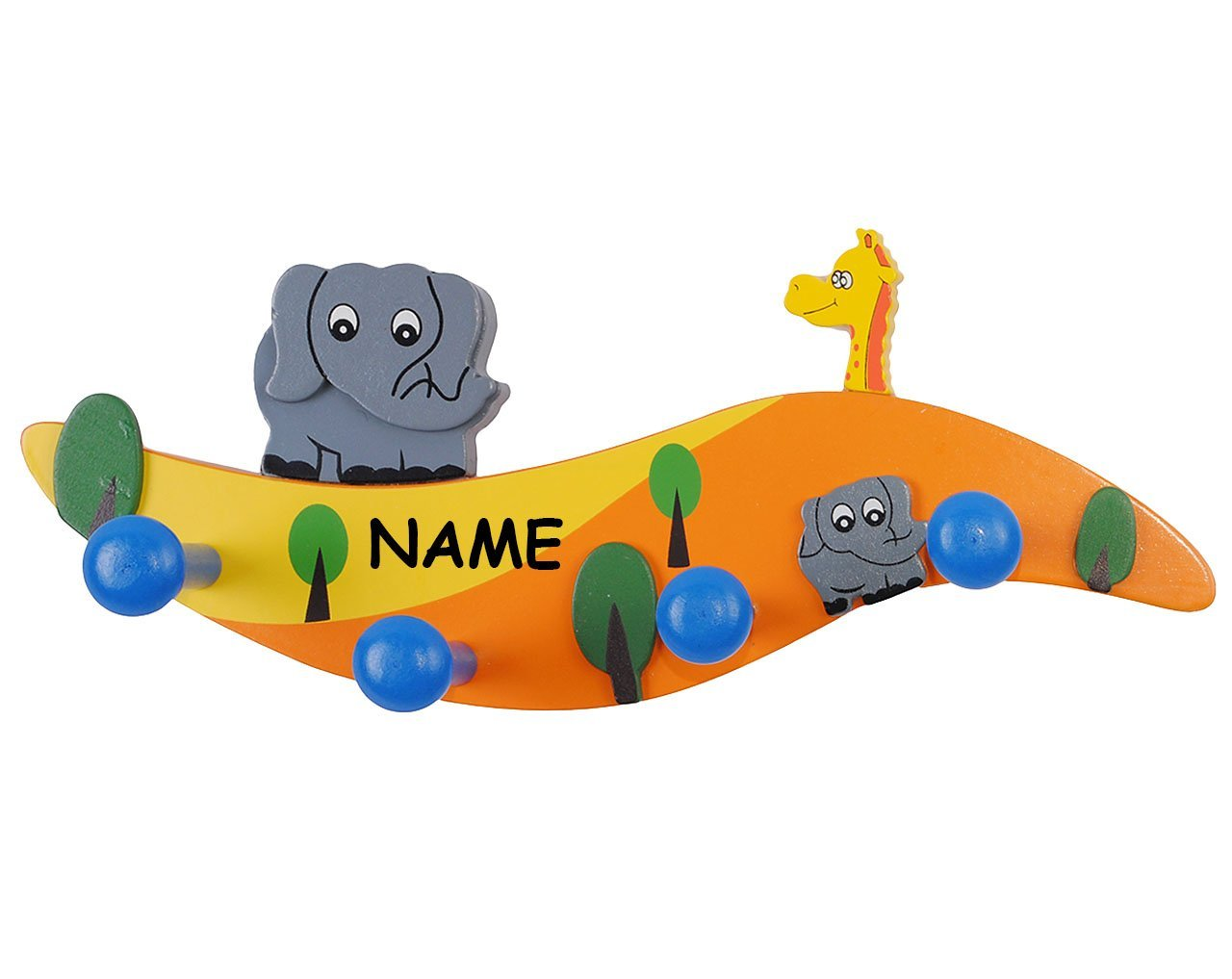 Garderobenhaken - Elefant & Giraffe incl. Namen - für Kinder mit 4 ...