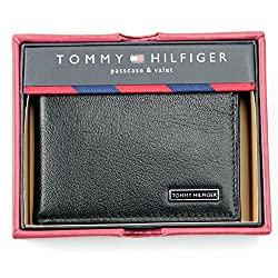 Tommy Hilfiger Passcase & Valet Wallet Mens Bifold Black Genuine Leather