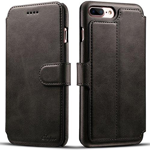 iPhone 7 Plus Etui Wallet ,VENTER® Etui Wallet iPhone 7 Plus - Cover iPhone 7 Plus - Hülle, Wallet Kartenfach Premium Ledertasche mit Stand-Funktion - Praktishe Leder Flip Schutzhülle für Apple iPhone schwarz