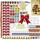 Outgeek Ornamenti per alberi di Natale, 138PCS Ornamenti alberi Natalizi con 50 LED Albero Top Snow Man Carte Regalo per Albero di Natale Decorazioni per la casa
