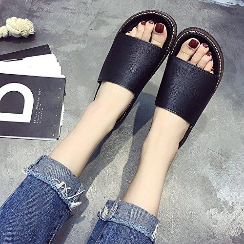 RUGAI-UE Donne pantofole fondo spesso pantofole piatto scarpe da spiaggia Black