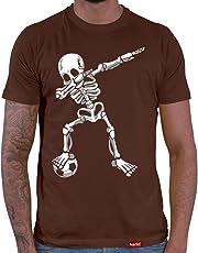 HARIZ  Herren T-Shirt Dab Skelett mit Fussball Dab Dabbing Dance Weihnachten Inkl. Geschenk Karte