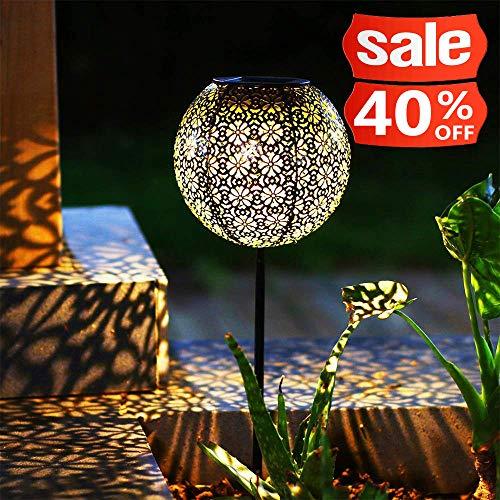 (Solar laterne Gartenlicht Outdoor Solarleuchten Garten Deko solarlampen für außen Terrasse Dekorative Metall Kunst Garten Zubehör Outdoor Dekorationen für Veranda Pathway und Hof Weihnachten)