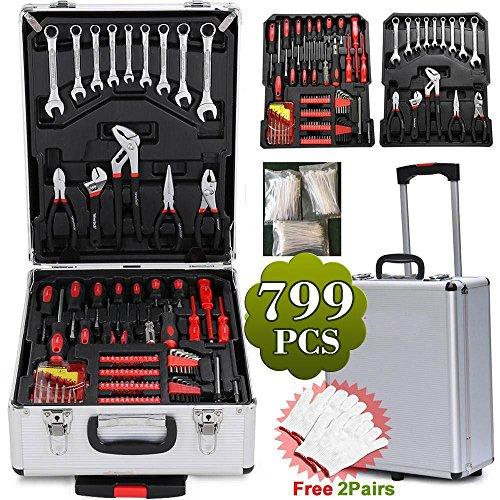 Preisvergleich Produktbild Yaheetech 799tlg Werkzeugkasten mit Werkzeug Universal Werkzeugset Werkzeugkoffer Trolley