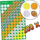 German Trendseller® - 100 x kleine Sticker Bälle ┃ Sport Bälle ┃ Sticker Set für Kinder