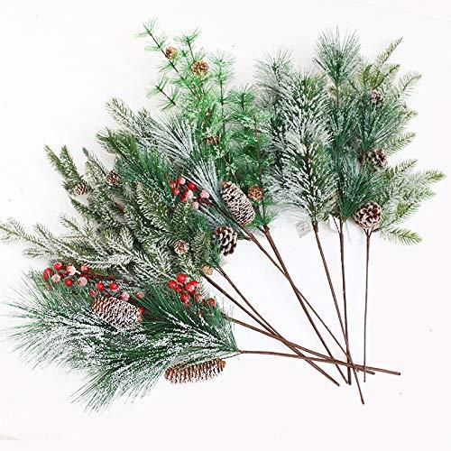 Dingcaiyi 9 pezzi di pino artificiale decorazioni natalizie steli di bacche rosse rami di pino albero sempreverde natale composizione floreale ghirlanda inverno