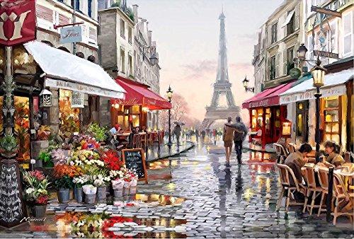 Suntown Malen nach Zahlen 40 x 50cm DIY Leinwand Gemälde für Erwachsene und Kinder mit 3 Bürsten und Acrylfarben - Unsere Erinnerungen in Paris (Nur Leinwand)