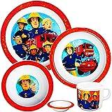 Unbekannt 4 TLG. Geschirrset -  Feuerwehrmann Sam Jones  - aus Melamin - BPA frei / Kunststoff - Trinktasse + Teller + Müslischale + Suppenschüssel - Kindergeschirr F..