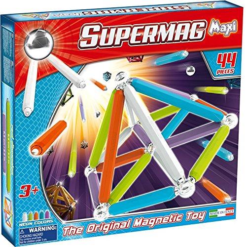 Supermag toys - 0115 - maxi neon gioco di costruzioni magnetico, 44 pezzi