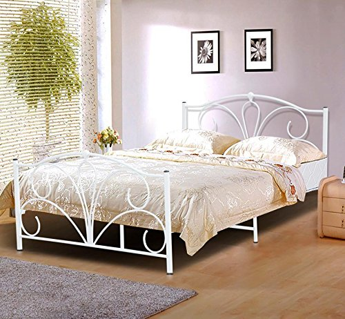Popamazing Double 4ft6 White Metal Bed Frame Bed/Mattress Foundation Base