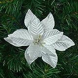 Fiori artificiali, decorazione ornamentale per albero di Natale, ghirlande, 6 pezzi, 12,70 cm, argento