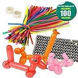 THE TWIDDLERS 100pcs Modellierung Ballons Kit Luftballon-Tiere - Bunt Magic Modellier Mit Ballon-Pumpe Klebepunkte Augenaufkleber Feiern Geburtstage Clowns Veranstaltungen Dekoration Party-Geschenke