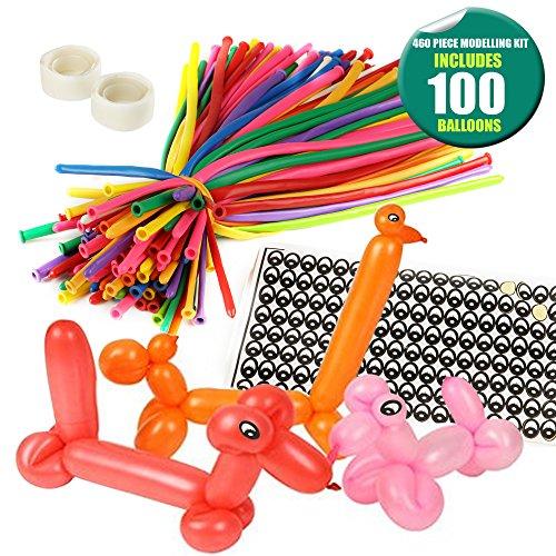 THE TWIDDLERS 100pcs Modellierung Ballons Kit Luftballon-Tiere - Bunt Magic Modellier Mit Ballon-Pumpe Klebepunkte Augenaufkleber Feiern Geburtstage Clowns Veranstaltungen Dekoration Party-Geschenke -