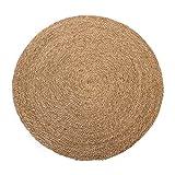 studio TR | Handmade Seegras Teppich rund geflochten mit Naturfaser Jute, Handmade, fair, nachhaltig, unbehandelt | Größe M: Ø 100 cm | Teppich Natur, Wohnzimmer, Schlafzimmer