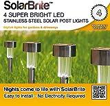 Solar Brite Deluxe 4 Super Bright LED Stainless Steel Solar Post lights