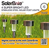 Solar Brite Deluxe 4 Super Bright LED Stainless Steel Solar Post lights