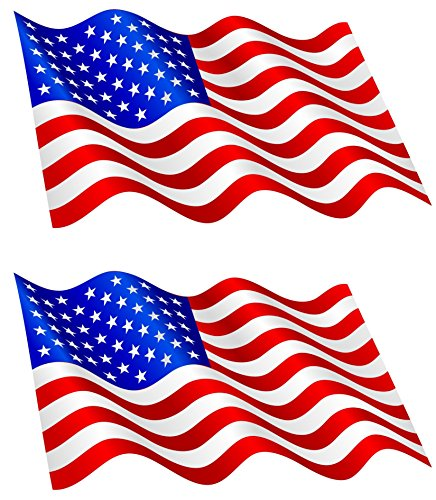 9 x 5 cm -- 2 x Mini Aufkleber Fahne USA wehend Flaggen Sticker Autoaufkleber (Usa-flagge Dekorationen)