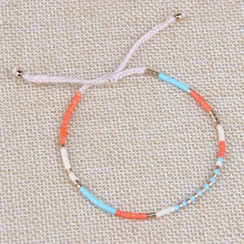 KELITCH Armband MischFarbe Rocailles Perlen Zart Schnur Freundschaftsarmbänder für Mädchen Damen - #06