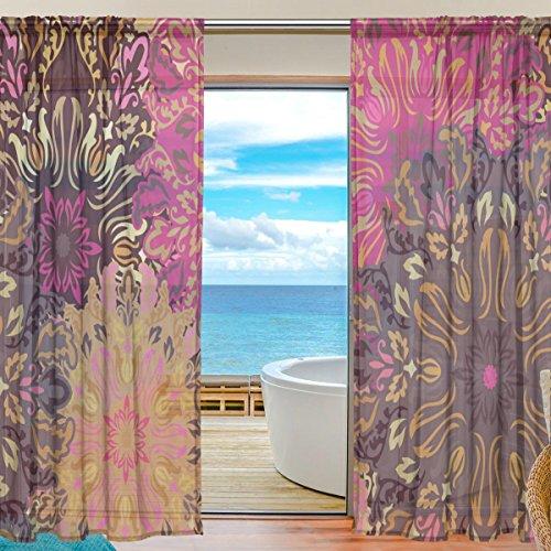 yibaihe Fenster Vorhänge, Gardinen Seitenteilen Vintage Floral Mandala Muster Fenster Behandlung Set Voile Drapes Tüll Vorhänge 198cm lang für Wohnzimmer Schlafzimmer Girl \'s Room 2Platten