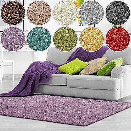 Shaggy Teppich Bali | weicher Hochflor Teppich für Wohnzimmer, Schlafzimmer und Kinderzimmer | mit GUT-Siegel | verschiedene Größen | viele moderne Farben (160 x 160 cm, lila)