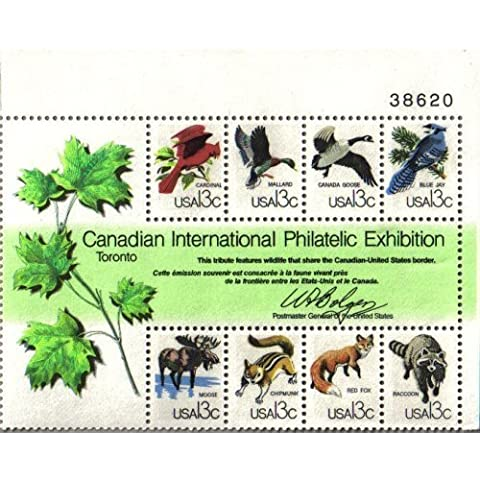 1978 CAPEX CANADIAN INTL PHILATELIC EXHIBITION ~ CANADA BORDER ANIMALS #1757 Souvenir Plate Block of 8 x 13?US Postage Stamps by USPS, US Post Office Dept