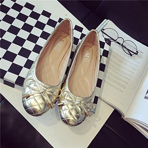 WYMBS Printemps de nouvelles chaussures bow bow ronde or télévision peu profonde avec une seule femme chaussures chaussures bateau grands chantiers Black