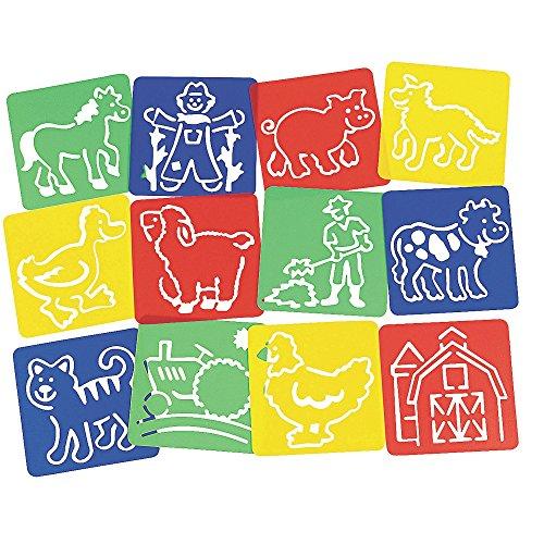 12 x Schablonen Bauernhof Zeichnen Tiere Malen Pferd Kindergeburtstag Huhn Mitgebsel Giveaway Hund Katze Schwein Trecker Lamm (Huhn Schablone)