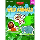 EduQuest - Jigsaw Puzzle - Wild Animals - 2-4 Years Old - Set Of 3 Puzzles - 2,3,4 Piece Puzzles - Lion (2 Pieces), Monkey (3 Pieces), Elephant (4 Pieces)